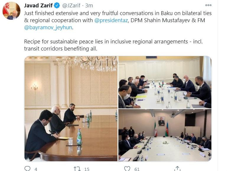 ظریف مذاکرات در باکو را مفید توصیف کرد