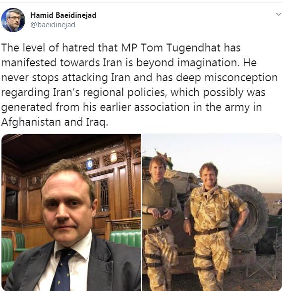 واکنش بعیدینژاد به درخواست ضد ایرانی قانونگذار انگلیسی