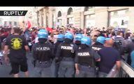 فیلم: خبرنگار ایرانی وسط دعوای پلیس رم و معترضان!