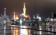 بارش اولین برف پاییزی در حرم مطهر امام رضا (ع) +فیلم